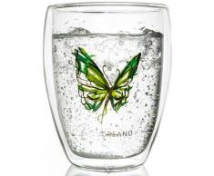 Creano Thermo-Glas, grün, doppelwandiges Tee-Glas, Latte Macchiato Glas, »Colourfly«, transparent, Neutral, transparent/grün