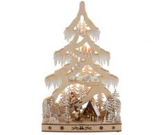 LED Baum Schneelandschaft, Warmweiß, mit Hütte und Skifahrern, Höhe ca. 48 cm beige LED-Lampen LED-Leuchten Lampen Leuchten sofort lieferbar