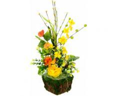 I.GE.A. Kunstblume Arrangement Ranunkel, Pflanzschale aus Rinde mit Moos gelb Künstliche Zimmerpflanzen Kunstpflanzen Wohnaccessoires
