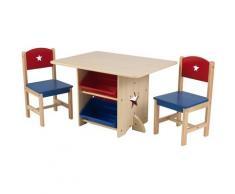 KidKraft Kindersitzgruppe Tisch mit Aufbewahrungsboxen und 2 Stühlen Sternchen (3-tlg), bunt, natur/blau/rot