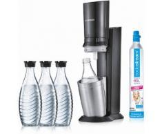 SodaStream Wassersprudler CRYSTAL 2.0 titan (5-tlg., 1 Wassersprudler, 3 Glaskaraffe, Zylinder) TOPSELLER schwarz Sodastream Küchenkleingeräte Haushaltsgeräte