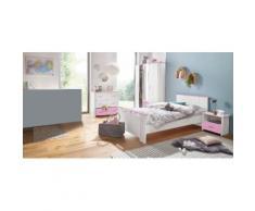 Parisot Jugendzimmer-Set (4-tlg) Biotiful mit Kleiderschrank und Kommode, weiß, weiß/rosa
