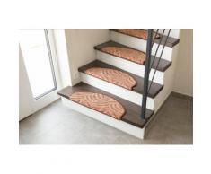 Andiamo Stufenmatte Amberg, halbrund, 9 mm Höhe, Hoch-Tief-Struktur, erhältlich als Set mit 2 Stück oder 15 braun Stufenmatten Teppiche
