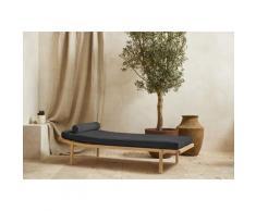 LeGer Home by Lena Gercke Polsterbank Celia, mit Polsterauflage und Kissenrolle, Relaxliege Massivholzgestell Daybett grau Polsterbänke Sitzbänke Stühle