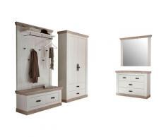 Home affaire Garderoben-Set Florenz, (4 St.), bestehend aus 1 Bank, Paneel, Kommode, Spiegel und Stauraumschrank weiß Garderoben Möbel mit Aufbauservice