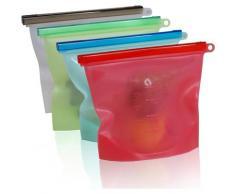 TELESHOP Gefrierbeutel, (Set, 4 tlg.), 100% Silikon, Stück farblos Gefrierbeutel Aufbewahrung Küchenhelfer Haushaltswaren