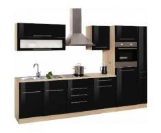 HELD MÖBEL Küchenzeile Eton mit E-Geräten Breite 330 cm, schwarz, schwarz Hochglanz/eichefarben