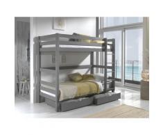 Vipack Etagenbett Pino, wahlweise mit Bettschublade grau Kinder Hochbetten Kinderbetten Betten