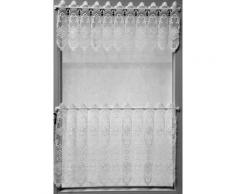 Stickereien Plauen Scheibengardine Blumenpanneau, mit echter Plauener Spitze Stickerei weiß Wohnzimmergardinen Gardinen nach Räumen Vorhänge