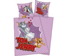 Kinderbettwäsche Tom & Jerry, mit witzigem Jerry Motiv lila Bettwäsche 135x200 cm nach Größe Bettwäsche, Bettlaken und Betttücher