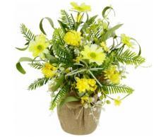 I.GE.A. Kunstblume Arrangement 'Margeriten/Farn', in Jutetopf gelb Kunstblumen Kunstpflanzen Wohnaccessoires