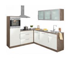 wiho Küchen Winkelküche Aachen mit E-Geräten Stellbreite 210 x 220 cm, weiß, weiß Glanz