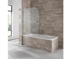 welltime Badewannenaufsatz Saragossa, BxH: 100x140cm silberfarben Duschwände Duschen Bad Sanitär