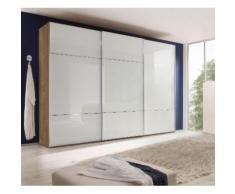 nolte Möbel Schwebetürenschrank Marcato 3, weiß, Front Weißglas,Korpus Sonoma Eiche