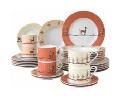 CreaTable Kombiservice ROMA NATURE, (Set, 30 tlg.), Mikrowellengeeignet orange Geschirr-Sets Geschirr, Porzellan Tischaccessoires Haushaltswaren