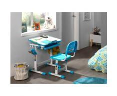 Vipack Kinder-Schreibtisch und Stuhl Comfortline ergonomisch höhenverstellbar, weiß, weiß/blau