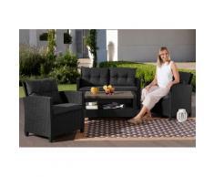 KONIFERA Gartenmöbelset St. Tropez, (11 tlg.), 2er Sofa, 2 Sessel, Tisch 90x55 cm, Polyrattan schwarz Gartenmöbel-Sets Gartenmöbel Gartendeko