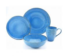 "CreaTable Single Geschirr-Set ""NATURE COLLECTION"" (4-tlg) Steinzeug, blau, jeansblau"