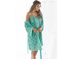 s.Oliver Kimono, mit Ornamentdruck zum Binden grün Damen Kimono Nachtwäsche Wäsche