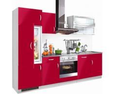 wiho Küchen Küchenzeile Amrum EEK C rot Küchenzeilen mit Geräten -blöcke Küchenmöbel Arbeitsmöbel-Sets