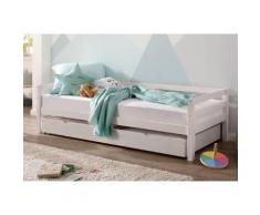 Lüttenhütt Daybett Alpi, mit Schubkasten aus massivem Kiefernholz, in drei unterschiedlichen Farbvarianten, Außenbreite 103 cm, Kinderbett, Einzelbett weiß Einzelbetten Betten