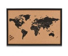 Zeller Present Pinnwand World, Memoboard, aus Kork, Motiv Weltkarte schwarz Büroaccessoires Wohnaccessoires