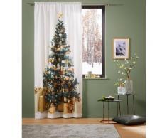Vorhang LED-Tannenbaum my home Stangendurchzug 1 Stück, weiß, Neutral, silbergoldfarben