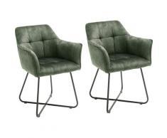 MCA furniture Esszimmerstuhl Panama, Vintage Veloursoptik mit Keder, Stuhl belastbar bis 120 Kg grün Esszimmerstühle Stühle Sitzbänke