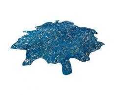 Fellteppich Glam 410 Kayoom fellförmig Höhe 8 mm Naturprodukt, blau, goldfarben-blau