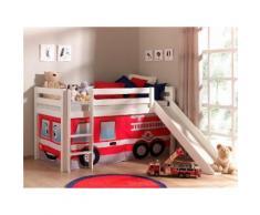 Vipack Hochbett Pino, mit Rolllattenroste und Vorhang-Set rot Betten Möbel Aufbauservice