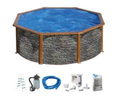 KONIFERA Rundpool Malaga II (Set) grau Swimmingpools Pools Planschbecken Garten Balkon