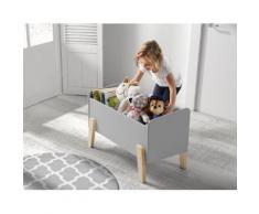 Vipack Spielzeugtruhe Kiddy, MDF-Oberfläche grau Kinder Kindermöbel Möbel sofort lieferbar