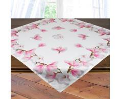 Delindo Lifestyle Mitteldecke Magnolien, Glattes Gewebe, bedruckt weiß Mitteldecken Tischwäsche Tischdecken