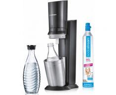 """SodaStream Wassersprudler """"Crystal 20"""" (1 Wassersprudler 1 Glaskaraffe 1 Zylinder), grau, titansilberfarben"""