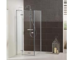 Dusbad Eckdusche Vital 1, Drehtür links mit Seitenwand grau Duschkabinen Duschen Bad Sanitär Bodenablauf