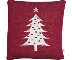 TOM TAILOR Dekokissen Knitted Red Tree, Gestrickte Kissenhülle mit Weihnachtsbaum-Motiv rot gemustert Kissen