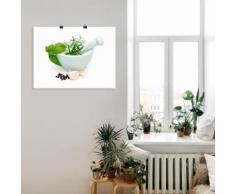 Artland Wandbild Vorbereitung der Marinade in Mörser grün Bilder Bilderrahmen Wohnaccessoires