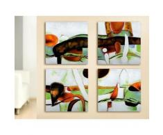 GILDE Leinwandbild vierteiliges Gemälde (Set) bunt Leinwandbilder Bilder Bilderrahmen Wohnaccessoires