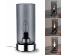 Paulmann Nachttischlampe Pinja Chrom/Rauchglas mit Touchschalter 1-flammig, E14, 1 St. silberfarben Tischleuchten Lampen Leuchten sofort lieferbar