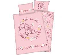 Disney Babybettwäsche Bambi, mit niedlichem Bambi rosa Frühlingsbettwäsche Bettwäsche, Bettlaken und Betttücher