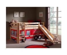 Vipack Hochbett Pino, mit Rolllattenrost und Vorhang-Set rot Betten Möbel Aufbauservice