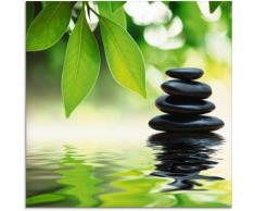 Artland Glasbild Zen Steinpyramide auf Wasseroberfläche grün Glasbilder Bilder Bilderrahmen Wohnaccessoires