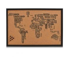 Zeller Present Pinnwand World Letters, rechteckig, aus Kork, Motiv Weltkarte schwarz Büroaccessoires Wohnaccessoires