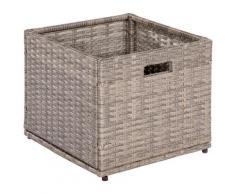 MERXX Kissenbox Unterschiebbox klein, Stahl/Kunststoff beige Garten- Kissenboxen Gartenmöbel Gartendeko