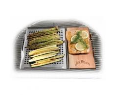 Jim Beam BBQ Grillplatte, Edelstahl-Holz, Grillauflage mit Zedernholz-Platte, ø 29 cm silberfarben Zubehör für Grills Garten Balkon Backblech