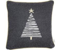 TOM TAILOR Dekokissen Knitted Shiny Tree, Gestrickte Kissenhülle mit Weihnachtsbaum-Motiv grau gemustert Kissen