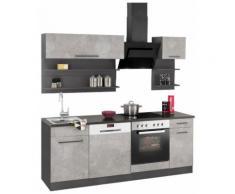 HELD MÖBEL Küchenzeile Tulsa, mit E-Geräten, Breite 210 cm EEK B grau Küchenzeilen Geräten -blöcke Küchenmöbel Arbeitsmöbel-Sets