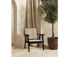LeGer Home by Lena Gercke Rattanstuhl Alena, mit Rattan Einsätzen in der Rückenlehne und Sitzfläche beige Holzstühle Stühle Sitzbänke