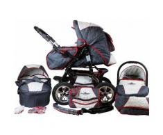 bergsteiger Kombi-Kinderwagen Milano, grey & red stripes, 3in1, 15 kg, Made in Europe grau Kinder Kombikinderwagen Kinderwagen Buggies