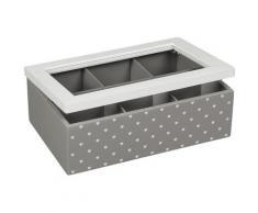 Ambiente Haus Aufbewahrungsbox Teekästchen - grau 23cm, (1 St.) weiß Körbe Boxen Regal- Ordnungssysteme Küche Ordnung